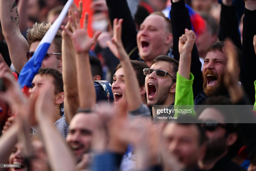 Fans of Russia celebrates after the second goal of his team during the 2018 FIFA World Cup Russia group A match between Russia and Saudi Arabia at FIFA Fans Fest Moscow on June 14, 2018 in Moscow, Russia.
