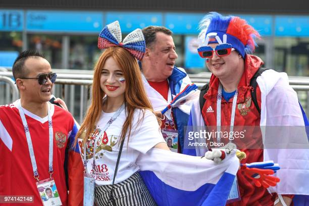 Fans of Russia during the 2018 FIFA World Cup Russia group A match between Russia and Saudi Arabia at Luzhniki Stadium on June 14 2018 in Moscow...