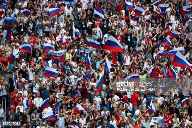 Fans of Russia during the Group A FIFA Confederations Cup Russia 2017 match between Russia and New Zealand at Saint Petersburg Stadium on June 17...