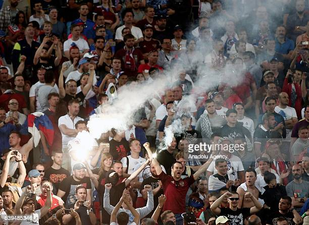 Fans of Russia support their team during Euro 2016 group B football match between England and Russia at Stade Velodrome in Marseille France on June...