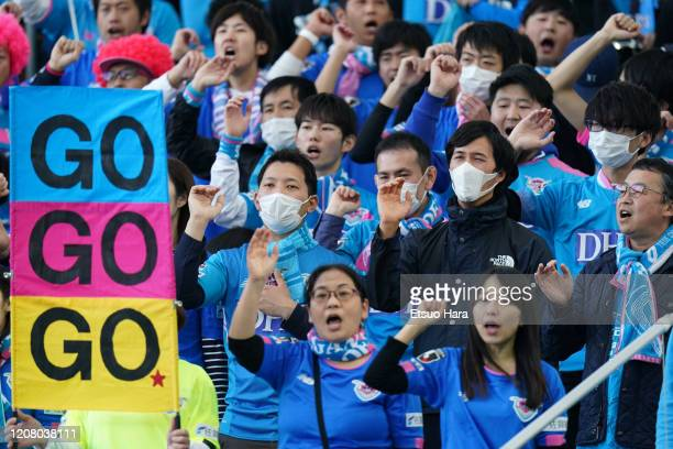 Fans of Sagan Tosu cheer prior to the JLeague MEIJI YASUDA J1 match between Kawasaki Frontale and Sagan Tosu at Todoroki Stadium on February 22 2020...