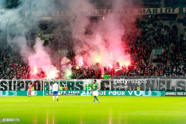 Fans of Saint Etienne during the Ligue 1 match between AS Saint Etienne and Strasbourg at Stade GeoffroyGuichard on November 24 2017 in SaintEtienne