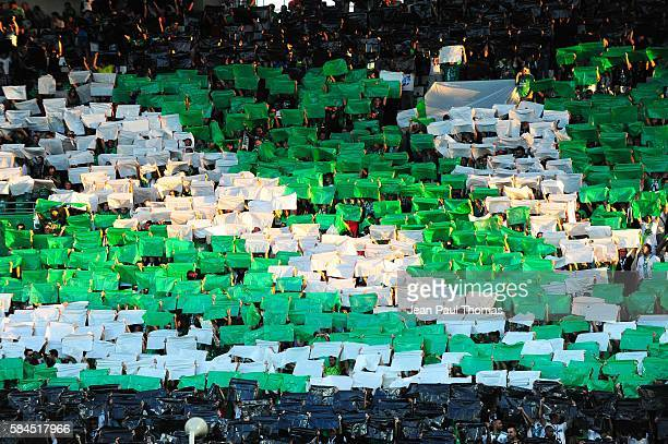 Fans of Saint Etienne during the Third Qualifying Round Europa League between Saint Etienne and AEK Athnes at Stade GeoffroyGuichard on July 28 2016...