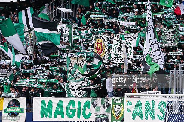 Fans of Saint-Etienne during the Ligue 1 match between SM Caen and AS Saint-Etienne at Stade Michel D'Ornano on October 23, 2016 in Caen, France.