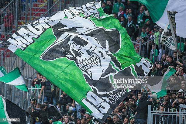 Fans of SaintEtienne during the Ligue 1 match between SM Caen and AS SaintEtienne at Stade Michel D'Ornano on October 23 2016 in Caen France