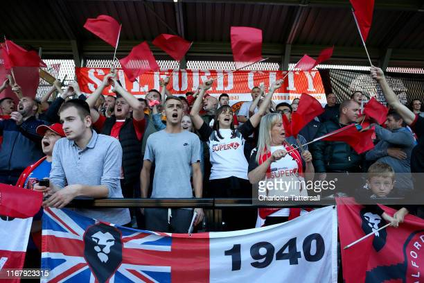 Fans of Salford City show their support during the Carabao Cup First Round match between Salford City and Leeds United at Moor Lane on August 13 2019...