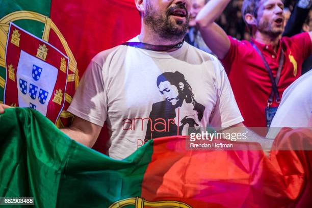 Fans of Salvador Sobral the winning contestant from Portugal at the winner's press conference at the Eurovision Grand Final on May 14 2017 in Kiev...