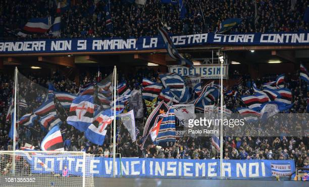 Fans of Sampdoria during the Coppa Italia match between UC Sampdoria and AC Milan at Stadio Luigi Ferraris on January 12, 2019 in Genoa, Italy.