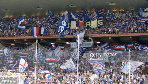 fans of Sampdoria during the Serie A match between UC Sampdoria and Benevento Calcio at Stadio Luigi Ferraris on August 20 2017 in Genoa Italy