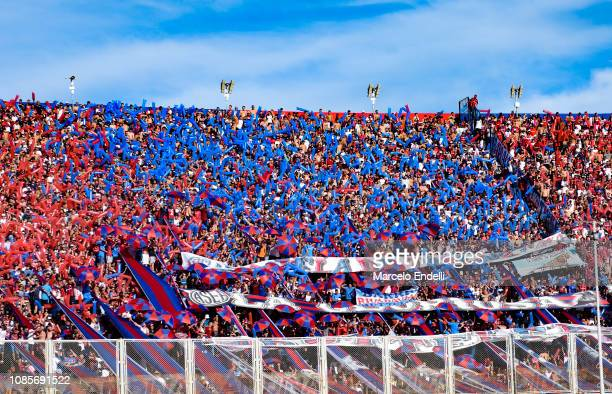 Fans of San Lorenzo cheer for their team before a match between San Lorenzo and Huracan as part of Round 13 of Superliga 2018/19 at Pedro Bidegain...