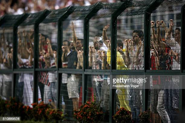 Fans of Sao Paulo looks on during a match between Sao Paulo v The Strongest as part of Group 1 of Copa Bridgestone Libertadores at Pacaembu Stadium...