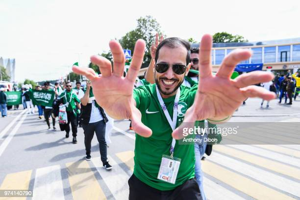 Fans of Saudi Arabia during the 2018 FIFA World Cup Russia group A match between Russia and Saudi Arabia at Luzhniki Stadium on June 14, 2018 in...