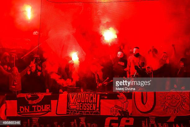 Fans of Schalke cheer during the UEFA Europa League Group K match between AC Sparta Praha and FC Schalke 04 at Generali Arena on November 5, 2015 in...