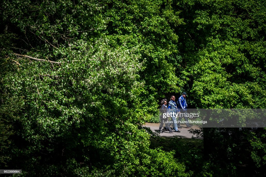 Fans of Schalke on their way to the stadium prior to the Bundesliga match between FC Schalke 04 and Borussia Moenchengladbach at Veltins-Arena on April 28, 2018 in Gelsenkirchen, Germany.