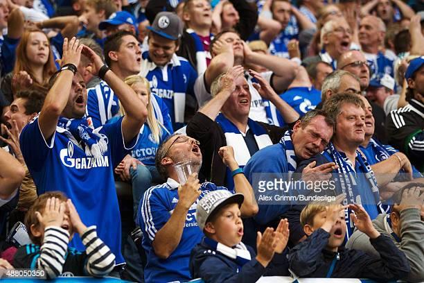 Fans of Schalke react during the Bundesliga match between FC Schalke 04 and 1 FSV Mainz 05 at VeltinsArena on September 13 2015 in Gelsenkirchen...