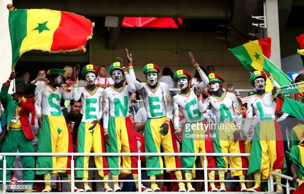 Fans of Senegal support there team during the 2018 FIFA World Cup Russia group H match between Poland and Senegal at Spartak Stadium on June 19 2018...