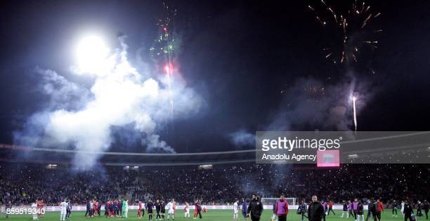Fans of Serbia celebrate after winning the 2018 FIFA World Cup European Qualification Group D match between Serbia and Georgia at Rajko Mitic Stadium...