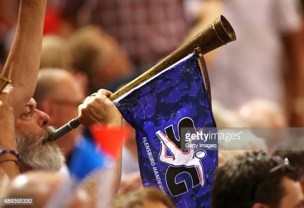 Fans of SG Flensburg Handewitt react during the Game SG Flensburg Handewitt v Rhein Neckar Loewen at FlensArena on May 28 2017 in Flensburg Germany