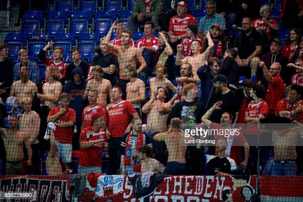 Fans of Silkeborg IF cheer during the Danish Alka Superliga match between Randers FC and Silkeborg IF at BioNutria Park on August 18 2017 in Randers...