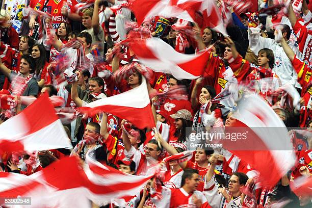 Fans of Slavia Prague celebrate the goal of Petr Jelinek during the IIHF Champions Hockey League Semi Final match between Slavia Prague and ZSC Lions...