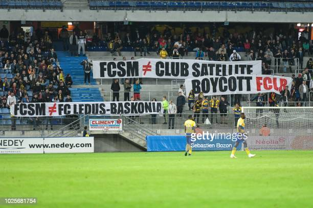 Fans of Sochaux during the French Ligue 2 match between Sochaux and Beziers on August 31 2018 in Montbeliard France