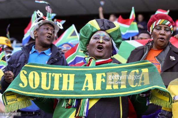Fans of South Africa cheer for their team prior to the 2019 FIFA Women's World Cup France group B match between Spain and South Africa at on June 08...