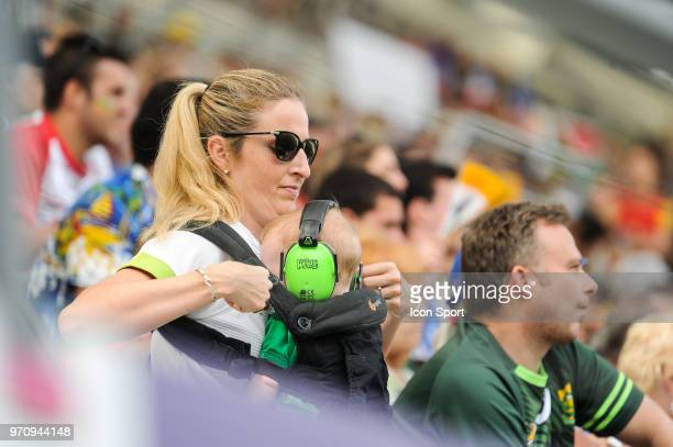 Fans of South Africa during the match between South Africa and Spain at the HSBC Paris Sevens stage of the Rugby Sevens World Series at Stade Jean...
