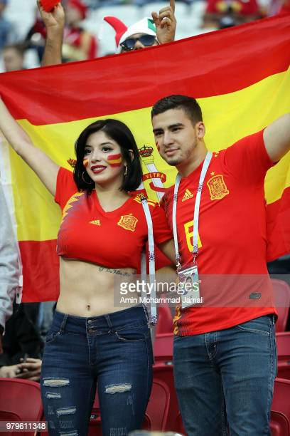 Fans of Spain look on during the 2018 FIFA World Cup Russia group B match between Iran and Spain at Kazan Arena on June 20 2018 in Kazan Russia