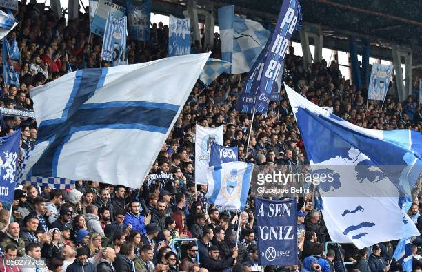 Fans of Spal during the Serie A match between Spal and FC Crotone at Stadio Paolo Mazza on October 1 2017 in Ferrara Italy