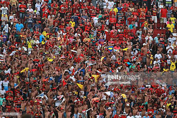 Fans of Sport Recife celebrate a scored goal during the Brasileirao Series A 2014 match between Sport Recife and Criciuma at Ilha do Retiro Stadium...