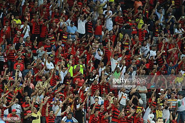 Fans of Sport Recife cheer before a match between Sport Recife and Palmeiras as part of Brasileirao Series A 2014 at Arena Pernmabuco Stadium on...