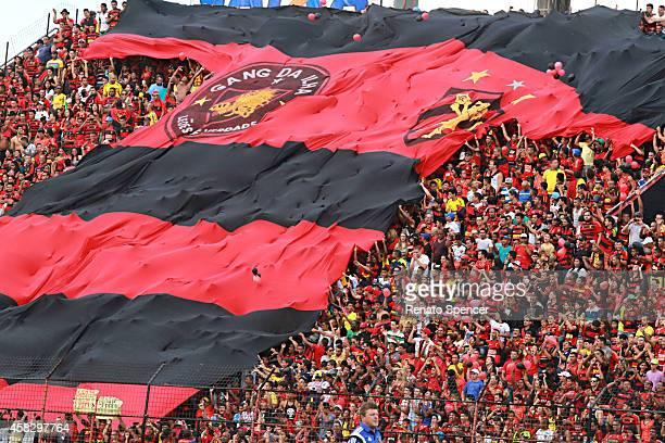 Fans of Sport Recife cheer before a match between Sport Recife and Figueirense as part of Brasileirao Series A 2014 at Ilha do Retiro Stadium on...