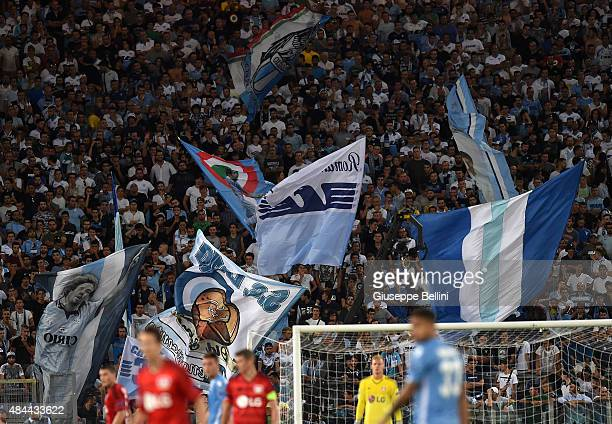 Fans of SS Lazio during the UEFA Champions League qualifying round play off first leg match between SS Lazio and Bayer Leverkusen at Olimpico Stadium...