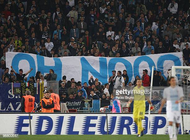 Fans of SS Lazio hold a funny banner to celebrate the goal of FC Internazionale Milano during the Serie A match between Lazio and FC Internazionale...