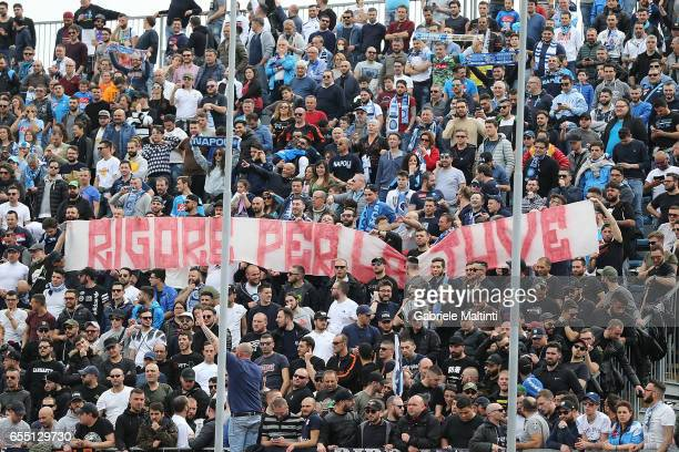 Fans of SSC Napoli during the Serie A match between Empoli FC and SSC Napoli at Stadio Carlo Castellani on March 19 2017 in Empoli Italy
