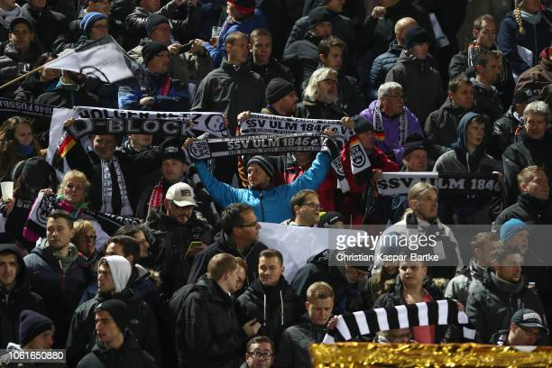 Fans of SSV Ulm 1846 are seen prior to the DFB Cup second round match between SSV Ulm 1846 and Fortuna Duesseldorf at Donaustadion on October 30,...