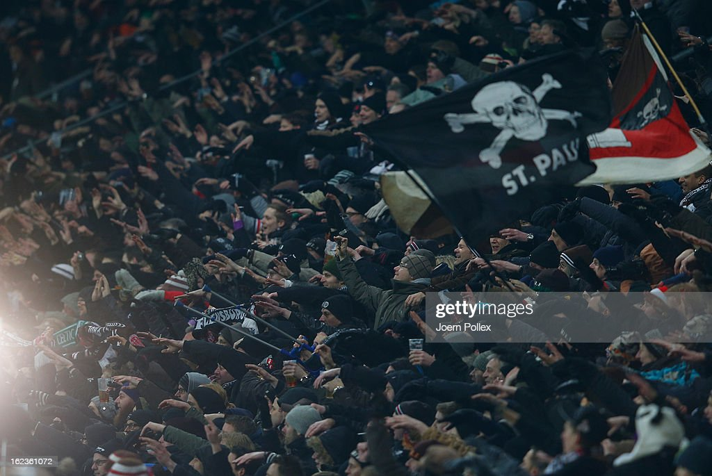 Fans of St. Pauli celebrate after the Second Bundesliga match between 1. FC St. Pauli and FSV Frankfurt 1899 at Millerntor Stadium on February 22, 2013 in Hamburg, Germany.