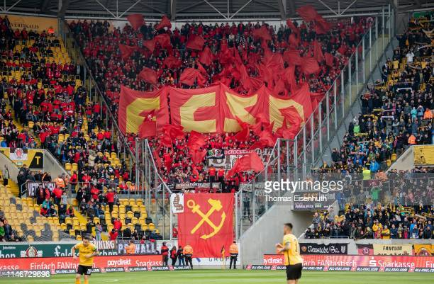 Fans of St. Pauli show a banner prior the Second Bundesliga match between SG Dynamo Dresden and FC St. Pauli at Rudolf-Harbig-Stadion on May 03, 2019...