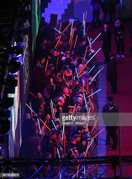 Fans of 'Star Wars' attend the European Premiere of Star Wars The Force Awakens at Leicester Square on December 16 2015 in London England