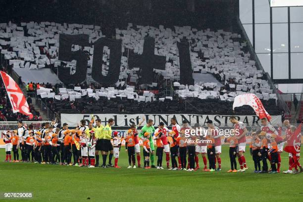 Fans of Stuttgart demonstrate for the 501 rule prior to the Bundesliga match between 1 FSV Mainz 05 and VfB Stuttgart at Opel Arena on January 20...