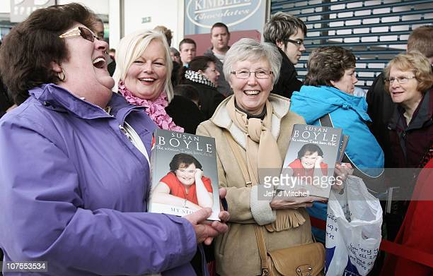 Fans of Susan Boyle queue for a book signing of 'The Woman I Was Born To Be' at the St Enoch Centre on December 13 2010 in Glasgow Scotland The...
