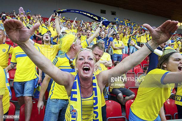 fans of Sweden during the UEFA European Under21 Championship final match between Sweden and Portugal on June 30 2015 at the Eden stadium in Prague...