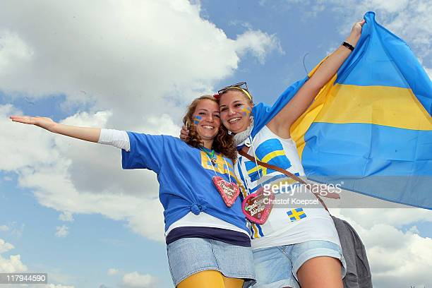 Fans of Sweden pose prior to the FIFA Women's World Cup 2011 Group C match between North Korea and Sweden at FIFA World Cup stadium Augsburg on July...