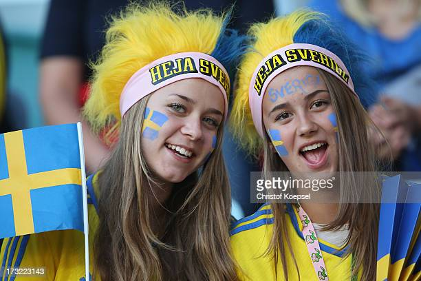 Fans of Sweden pose prior to the UEFA Women's EURO 2013 Group A match between Sweden and Denmark at Gamla Ullevi Stadium on July 10 2013 in...