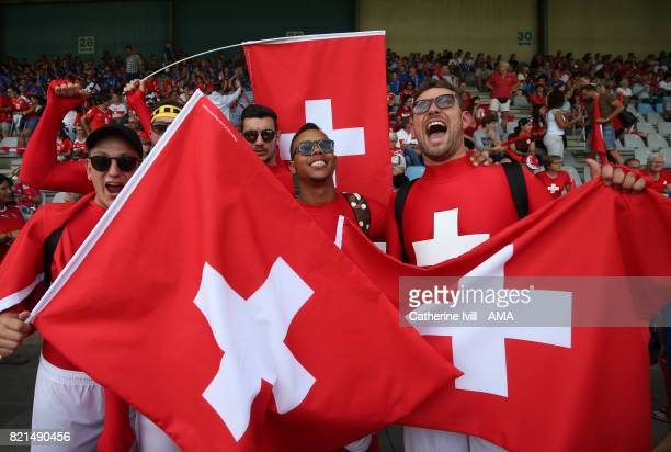 Fans of Switzerland with flags during the UEFA Women's Euro 2017 match between Iceland and Switzerland at Stadion De Vijverberg on July 22 2017 in...