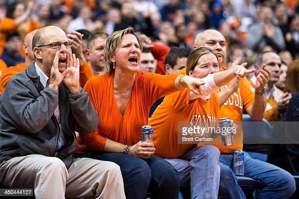 Fans of Syracuse Orange yell at referees after several calls in the second half went against the Orange during a basketball game against St Francis...