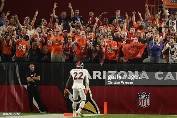 Fans of te Denver Broncos cheer after defensive back Tramaine Brock picked up a loose ball during the NFL game against the Arizona Cardinals at State...