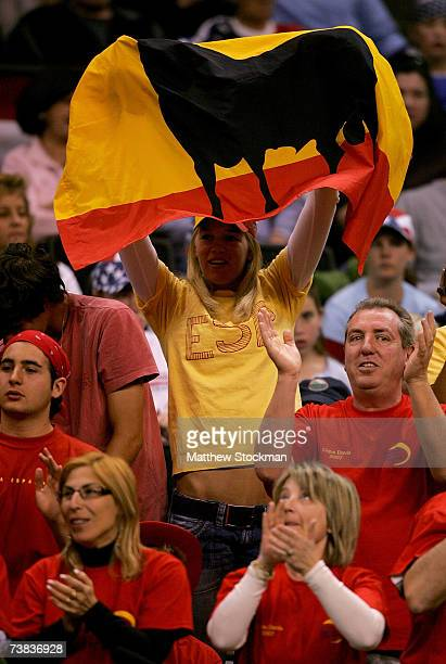 Fans of Team Spain cheer as Mike Bryan and Bob Bryan play Fernando Verdasco and Feliciano Lopez of Spain during the third rubber of the Davis Cup...