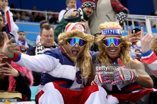 Fans of Team United States pose during the Men's Ice Hockey Preliminary Round Group B game against United States on day eight of the PyeongChang 2018...