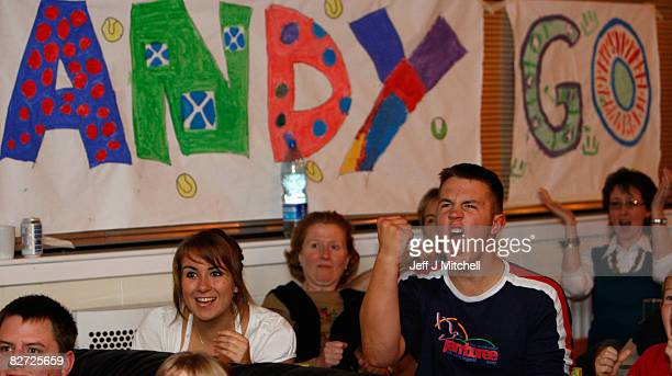 Fans of tennis player Andy Murray gather in a bar at his home town Dunblane to watch him play Roger Federer in the US open final at Flushing Meadows...